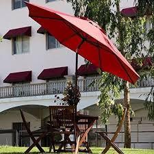Auto Tilt Patio Umbrella Abba Patio 9 Sunbrella Fabric Umbrella Outdoor Table With
