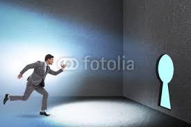 In Challenge Businessman Walking Towards Keyhole In Challenge Concept Buy
