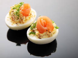 everything bagel deviled eggs smoked salmon sesame and caraway