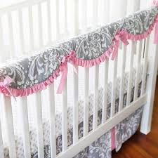 Pink And Gray Crib Bedding Pink And Gray Crib Rail Cover Set Pink Baby Bedding Baby