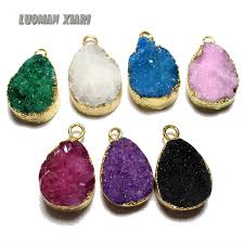 diy stone pendant necklace images Wholesale natural druse crystal stone pendant dyed color small jpg