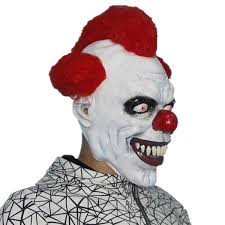 x merry scary clown mask wide smile red hair evil creepy