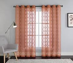 Embroidered Sheer Curtains Cinnamon Spice Embroidered Sheer Window Curtain Panel Grommets