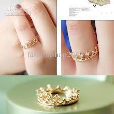 girl hand rings images Korean stylish rhinestone crown mini ring rings for women girl jpg