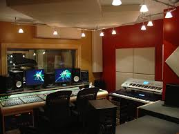 interior cool home music studio lighting design with colorful