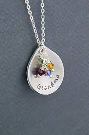 grandkids necklace birthstone necklace dii personalized teardrop name gift