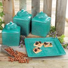 Stoneware Kitchen Canisters Turquoise Kitchen Canister Set And Platter