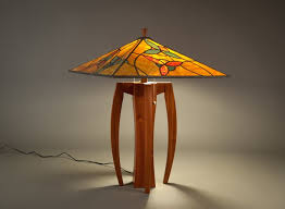 Glass Table Lamp Shades Walkabout Table Lamp With Flower Motif Stained Glass Shade Terra