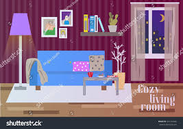 livingroom cartoon living room interior flat style vector stock vector 361163342