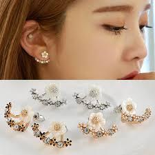 korean earings korean 3 colors leave flower stud earrings fashion
