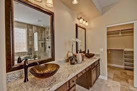craftsman master bathroom with vessel sink u0026 raised panel in