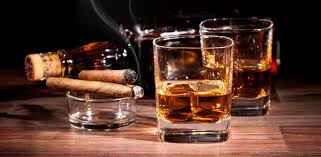 alcoholic drinks wallpaper cigar whiskey glass bottle smoke alcohol f wallpaper 5312x3320