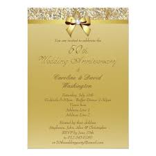 50th wedding invitations 50th gold wedding anniversary faux sequins and bow invitation card