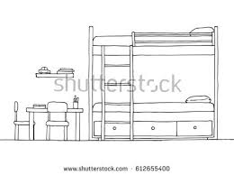 Bunk Bed Drawing Childrens Room Childrens Furniture Bunk Bed Stock Vector 612655400