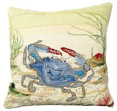 ncu 807 blue crab 18 x 18 needlepoint pillow