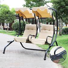 Swing Bench Outdoor by Adeco 2 Independent Chairs Canopy Awning Porch Swings Bench By