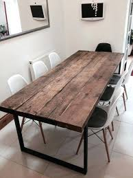 reclaimed wood table with metal legs real wood dining table reclaimed industrial chic 6 8 dining table