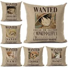 anime cushion cover linen one piece wanted printed throw pillow
