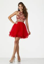 party dress high halter beaded party dress with with low back and flounced