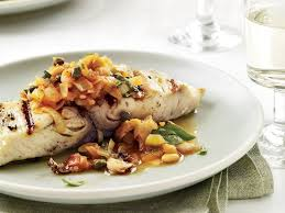 grilled fish with artichoke caponata recipe michael white food