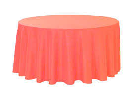 Wedding Table Clothes 120 Inch Coral Polyester Round Tablecloths For Weddings Bridal