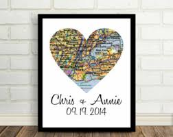 wedding gift nyc unique wedding gift for map framed heart