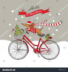 romantic christmas card cartoon picture dog stock vector 447552544