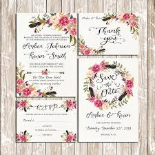 flowers and feathers bohemian floral wreath wedding invitation kit