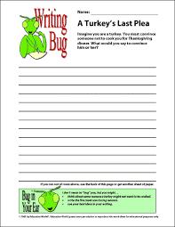 education world thanksgiving writing bug