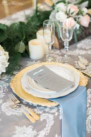 rose quartz and serenity wedding table setting place setting