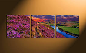 home decor group 3 piece river landscape purple huge canvas art