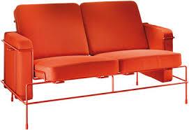 canap orange canapé droit traffic l 134 cm 2 places tissu orange structure