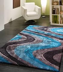 3d Area Rugs Gray Blue Aqua Blue Turquoise 3d Silk Shag Wave Shaggy Area