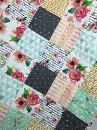 My Baby Is Chewing On His Crib by Modern Floral Baby Nursery Quilt Floral Crib Bedding