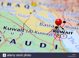 Kuwait On A Map Kuwait Pinned On A Map Of Asia Stock Photo Royalty Free Image