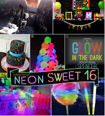 neon glow in the sweet 16 party theme ideas neon glow