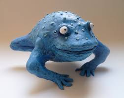 Frog Nursery Decor Blue Toad Sculpture Blue Animal Handmade Frog Nursery