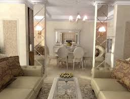 mirrored divider for elegant living room interior design combined