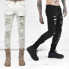 Ripped Denim Jeans For Men White Slim Skinny Jeans For Men Ebay