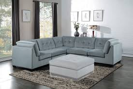 Corner Sectional Sofa Savarin Modern Light Grey Fabric Stitch Tufting Corner Sectional Sofa
