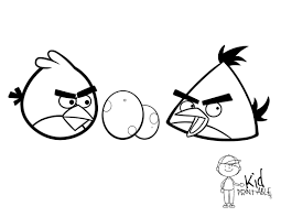 red and yellow angry birds with eggs coloring page coloring