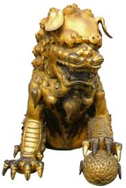gold lion statues huayan buddhism