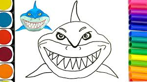 how to draw sharks coloring pages drawing for kids learn