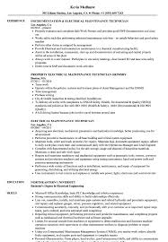 maintenance technician resume electrical maintenance technician resume sles velvet