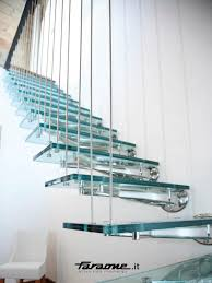 straight staircase glass steps stainless steel frame without