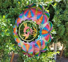 Metal Garden Flowers Outdoor Decor Double Hummingbird Prism Color With Flowers Wind Spinner Metal