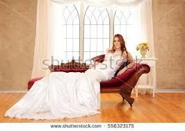 Fainting Bench Bride Sitting On Fainting Couch By Stock Photo 556323175