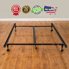 adjustable bed frame steel black fits full to king metal sturdy