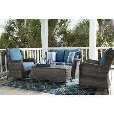 Patio Furniture Conversation Set Signature Design By Ashley Abbots Court Outdoor Conversation Set