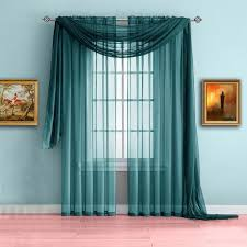 Teal Curtain Affordable Sheer Window Curtains Scarf In 10 Colors